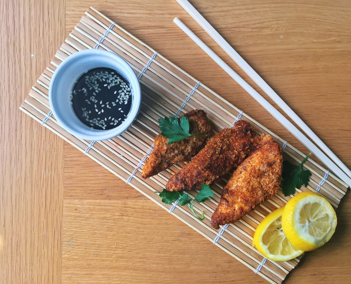 Baked Chicken Goujons with a Korean Dipping Sauce Recipe