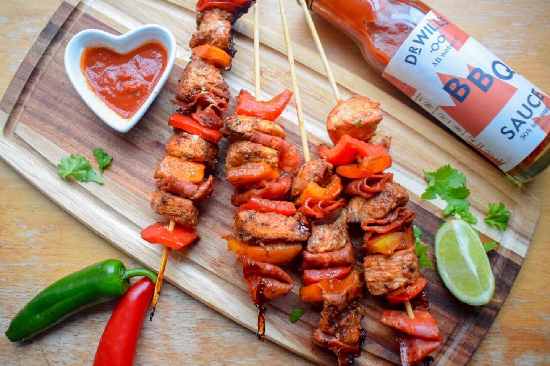 Chipotle BBQ Chicken & Chorizo Skewers