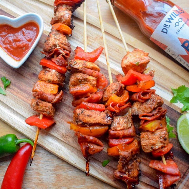 Chipotle BBQ Chicken & Chorizo Skewers