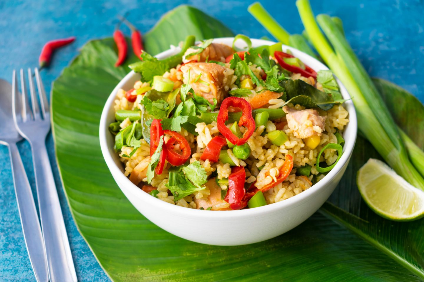 Green Curry Fried Rice With Lemongrass Salmon