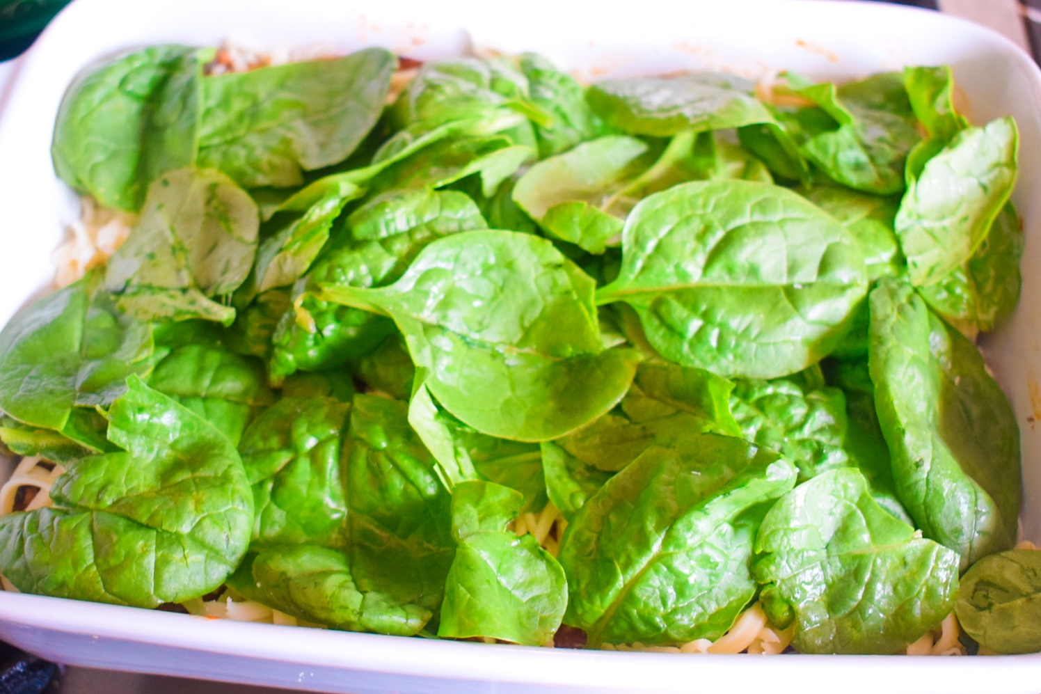 Spinach layer for plantain lasagna