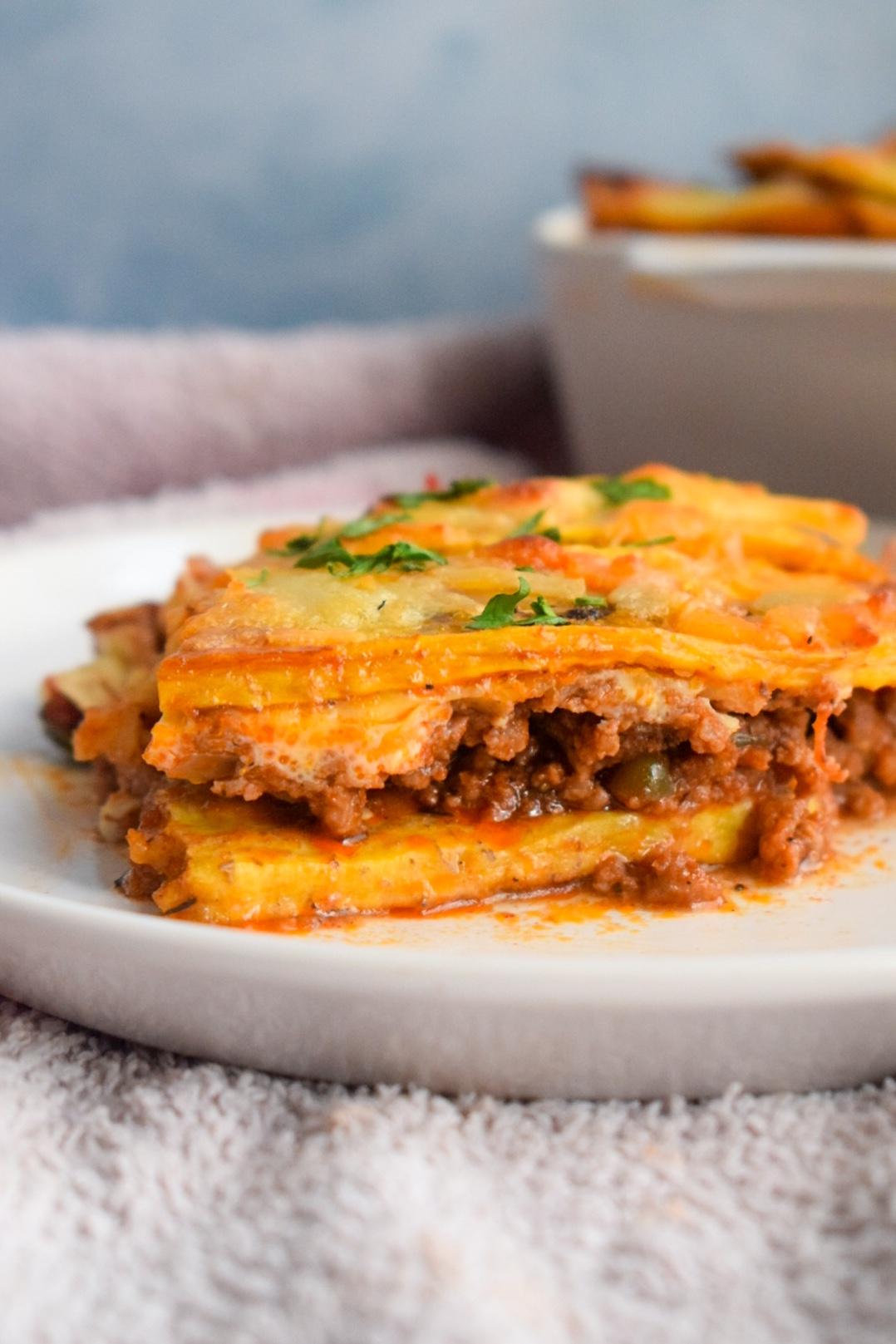 Close up shot of the plantain lasagna
